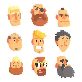 Desenhos animados avatar homens rostos com emoções diferentes.