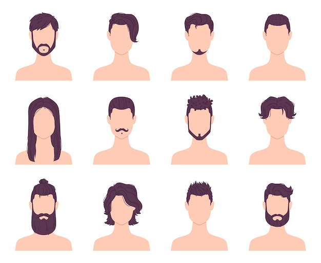 Desenhos animados avatares de homens moda penteados, bigodes e barbas. cortes de cabelo curtos e longos modernos masculinos. conjunto de vetores de ícones de estilo de cabelo de barbearia