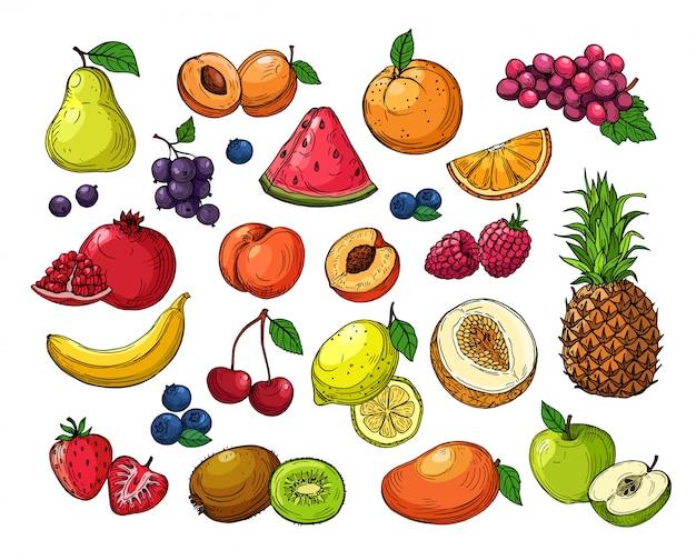 Desenhos animados bagas e frutos. uvas de abacaxi, maçã pera, manga laranja, kiwi melão, limão e banana. conjunto