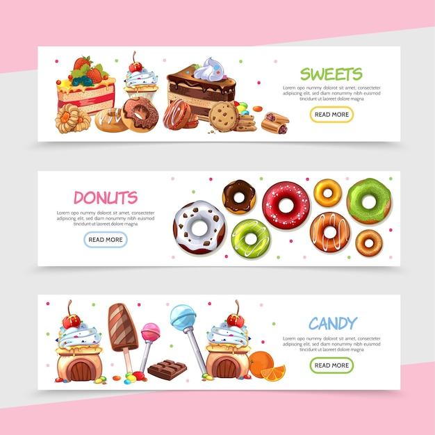 Desenhos animados banners horizontais de produtos doces com doces brilhantes, bolos, sorvete, barra de chocolate