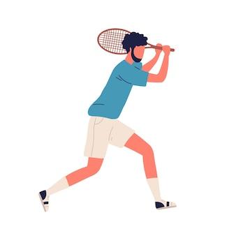 Desenhos animados barbudo masculino profissional grande jogador de tênis backhand smash segurar raquete ilustração vetorial plana. homem ativo em roupas esportivas, jogando na posição de recebimento isolada no fundo branco.