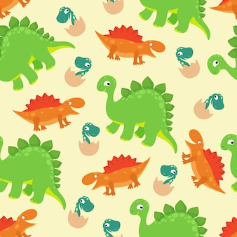 Desenhos animados bebê dinossauro vetor sem costura padrão para design de moda menina