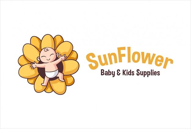 Desenhos animados bebê fofo e logotipo de mascote de personagem de girassol