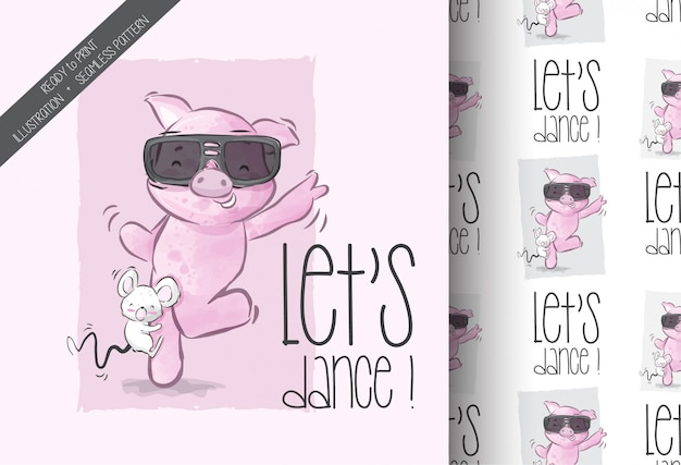 Desenhos animados bebê fofo porco feliz dançando sem costura padrão
