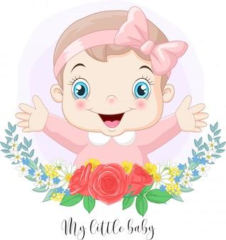 Desenhos animados bebê menina bonitinha com fundo de flores