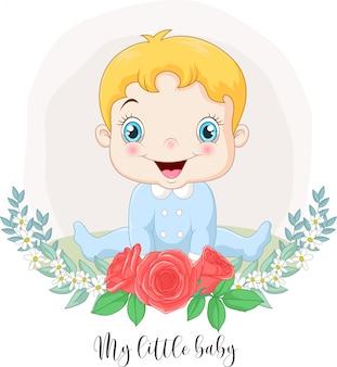 Desenhos animados bebê menino bonitinho com fundo de flores
