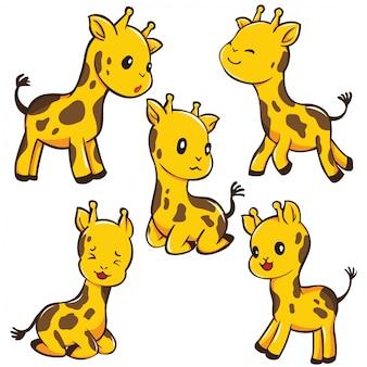 Desenhos animados bonitos ajustados do girafa, conceito animal bonito.