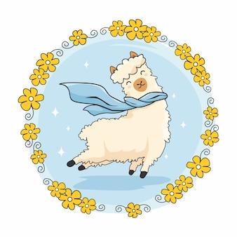 Desenhos animados bonitos alpaca salto flores