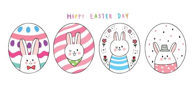 Desenhos animados bonitos coelhos do dia de páscoa e ovos coloridos.