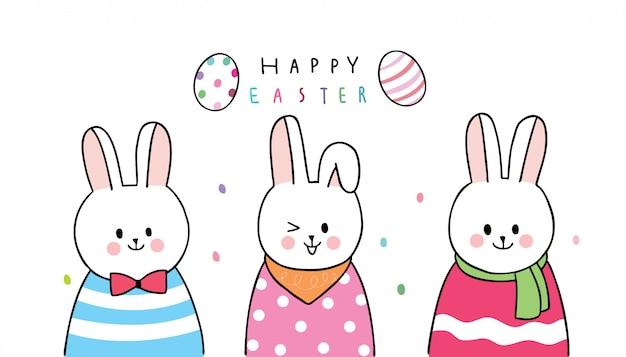 Desenhos animados bonitos coelhos do dia de páscoa e ovos coloridos
