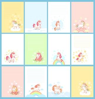 Desenhos animados bonitos coloridos do unicórnio do bebê do arco-íris mágico