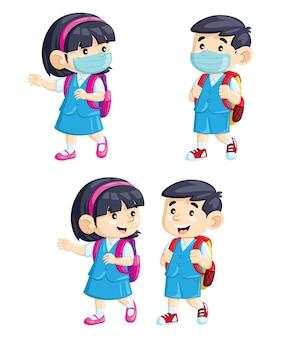 Desenhos animados bonitos crianças indo para a escola usando máscaras