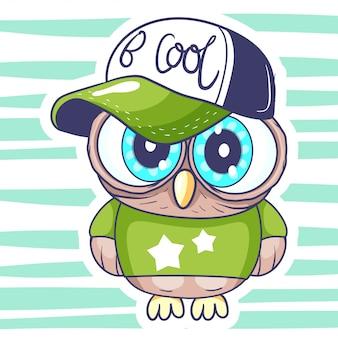 Desenhos animados bonitos da coruja pequena