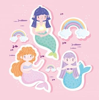 Desenhos animados bonitos da decoração das sereias arco-íris nuvens peixes