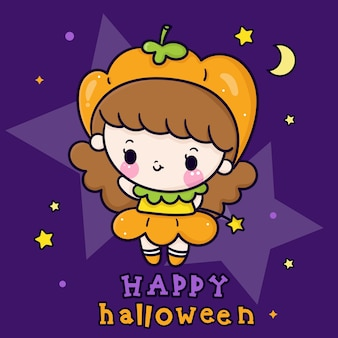 Desenhos animados bonitos da menina do dia das bruxas bebê kawaii usando vestido de abóbora