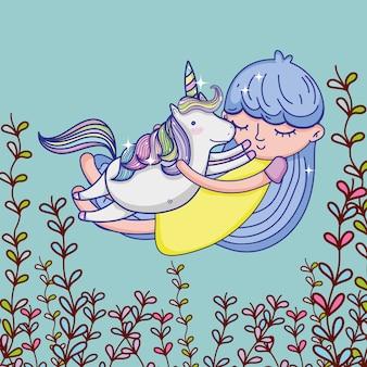 Desenhos animados bonitos da menina e do unicórnio