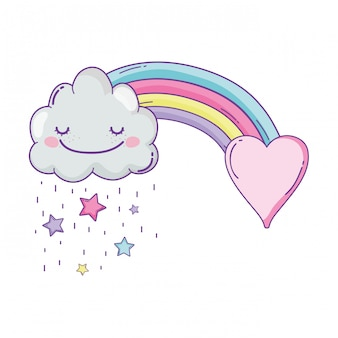 Desenhos animados bonitos da nuvem e do arco-íris