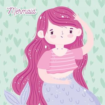 Desenhos animados bonitos da pequena sereia de cabelo rosa com decoração de corações