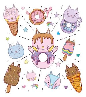 Desenhos animados bonitos das sobremesas e dos gelado