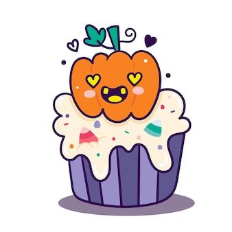 Desenhos animados bonitos de abóbora de cupcake de halloween