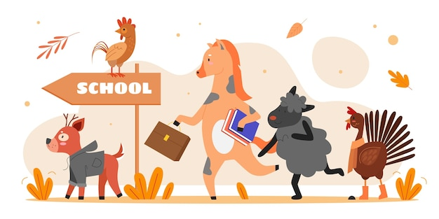 Desenhos animados bonitos de animais indo para a escola juntos