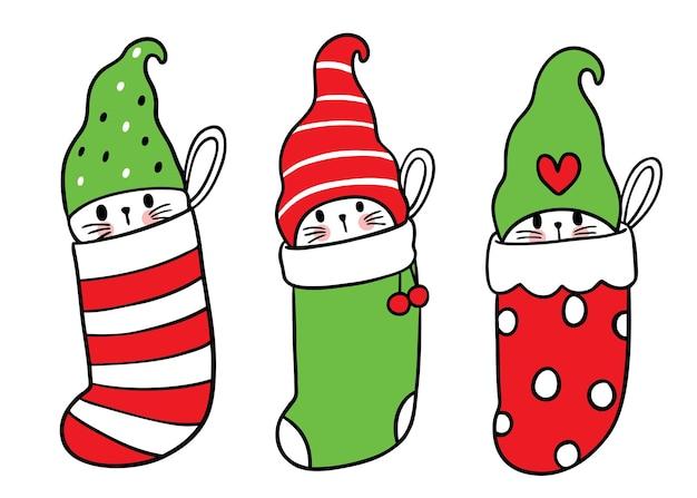 Desenhos animados bonitos de cães e gatos de natal e ano novo em vetor de meias