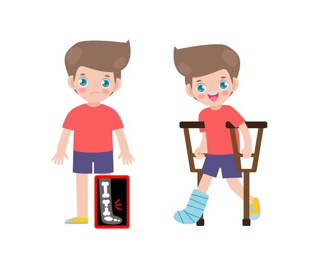 Desenhos animados bonitos de crianças caucasianas com perna quebrada no raio x e se recuperando com gesso e muletas tratamento de fratura óssea