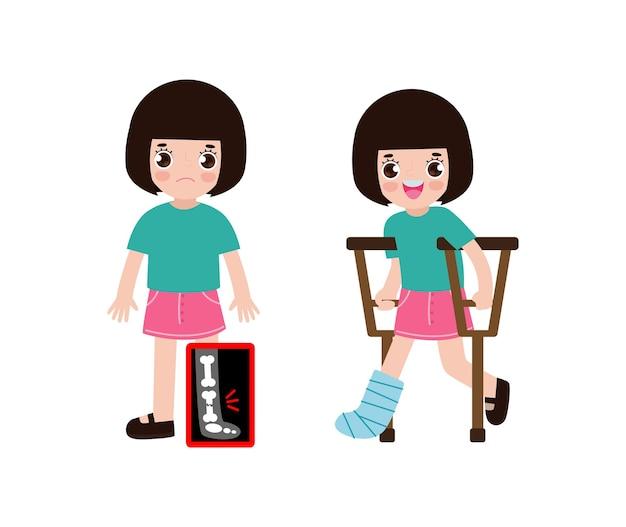 Desenhos animados bonitos de crianças com perna quebrada no raio x e se recuperando com gesso e muletas