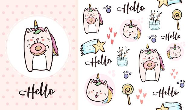 Desenhos animados bonitos de gato unicórnio e rosquinha doce