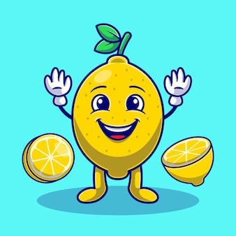 Desenhos animados bonitos de limão e fatia de limão