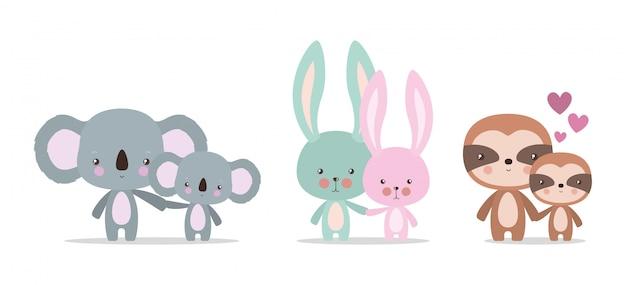 Desenhos animados bonitos de mãe e bebê animais