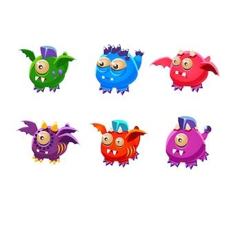 Desenhos animados bonitos de monstros. mutantes colorful para interface do usuário do jogo