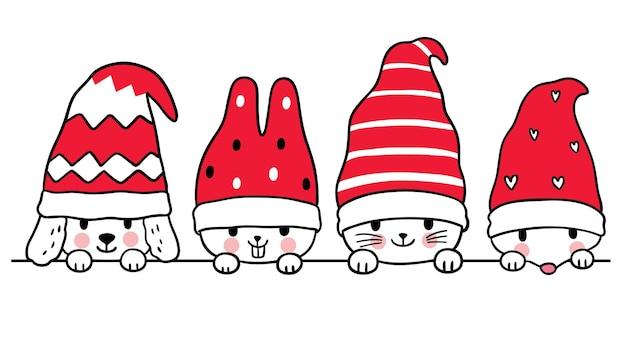 Desenhos animados bonitos de natal e ano novo gato e cachorro e coelho e rato em vetor de chapéu de gnomo