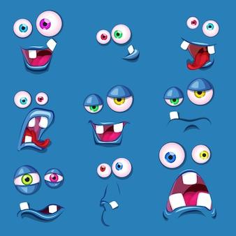 Desenhos animados bonitos de olhos arreganhados enfrenta emoções