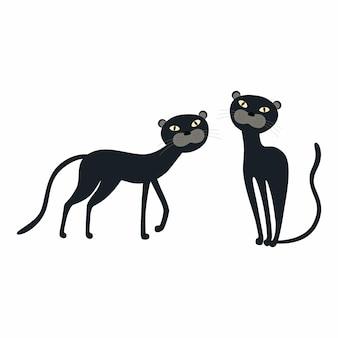 Desenhos animados bonitos de panteras negras isoladas Vetor Premium