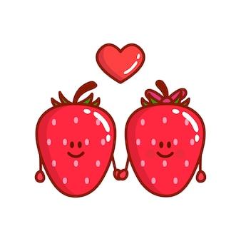 Desenhos animados bonitos de personagens de morango