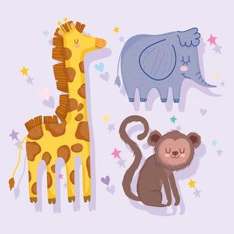Desenhos animados bonitos de safári de macaco, girafa e elefante com folhas
