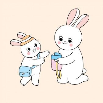 Desenhos animados bonitos de volta à mãe da escola e ao coelho do bebê.