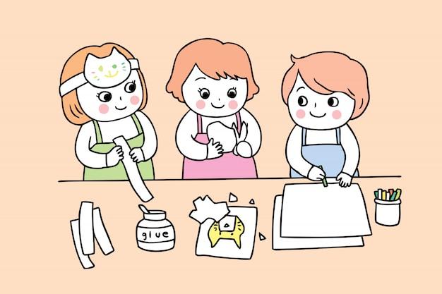 Desenhos animados bonitos de volta aos estudantes da escola na classe de arte.