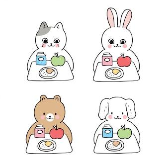 Desenhos animados bonitos de volta para animais de escola e hora do almoço