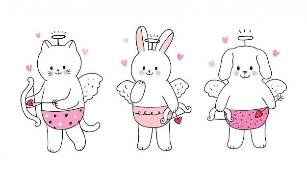 Desenhos animados bonitos dia dos namorados cupidos gato e coelho e cachorro.