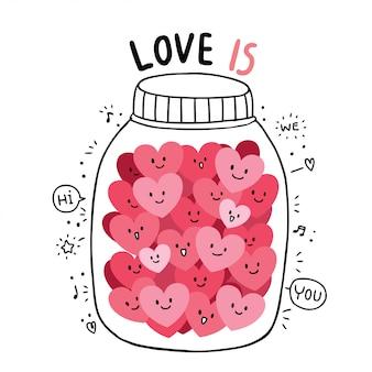 Desenhos animados bonitos dia dos namorados doodle vetor de muitos corações.