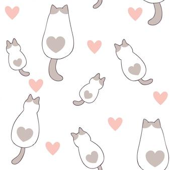 Desenhos animados bonitos dia dos namorados gato e amor sem costura padrão
