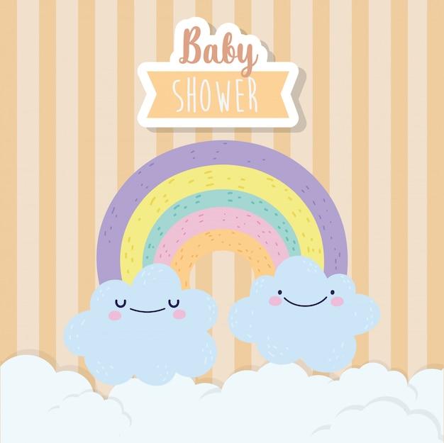 Desenhos animados bonitos do arco-íris e nuvens do chuveiro de bebê