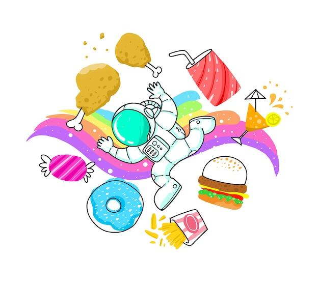 Desenhos animados bonitos do astronauta