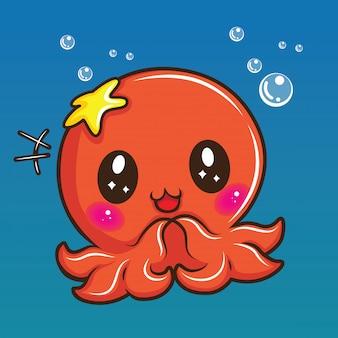 Desenhos animados bonitos do calamar, conceito animal dos desenhos animados.
