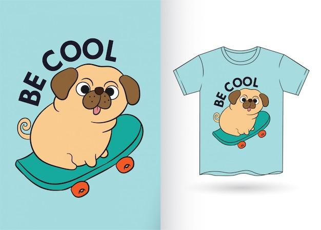 Desenhos animados bonitos do cão para a camisa de t