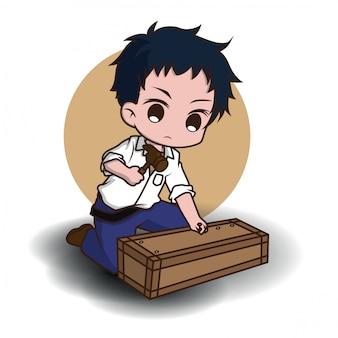 Desenhos animados bonitos do caráter do carpinteiro, conceito de trabalho.