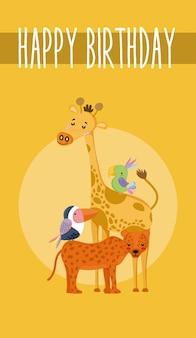 Desenhos animados bonitos do cartão bonito do feliz aniversario dos animais