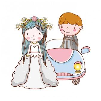 Desenhos animados bonitos do casamento dos pares do carro